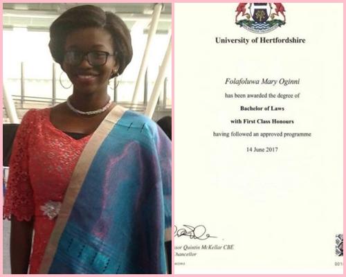 21-year old Nigerian lady, Folafoluwa Oginni breaks Hertfordshire University record, graduates with 5.0 GPA