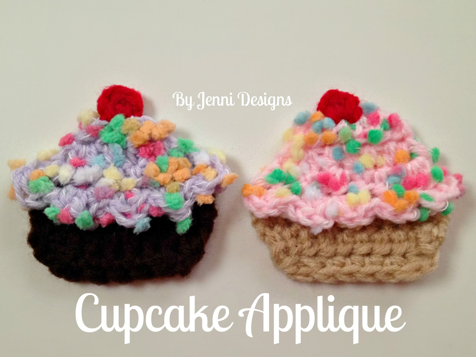 By Jenni Designs Free Crochet Pattern Cupcake Applique