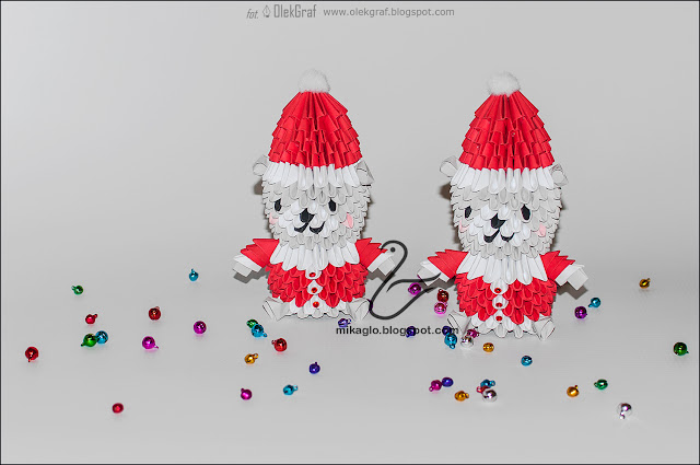 625. Misie mikołaje z origami / 3d origami Santa bears