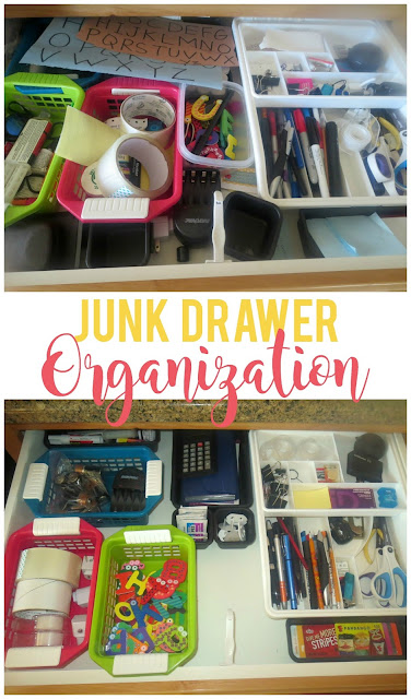 Junk Drawer Organization--Easily organize the junk drawer with a few simple tips.