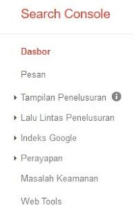 Fungsi menu pada dashboard search console