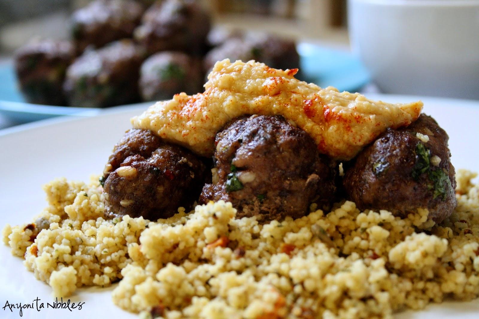 Lamb koftas on couscous with hummus by Anyonita Nibbles
