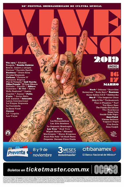 CARTEL VIVE LATINO 2019 XX AÑOS