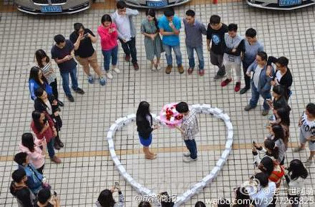 Man Use 99pcs of iPhone 6 in Marriage Proposal now Trending