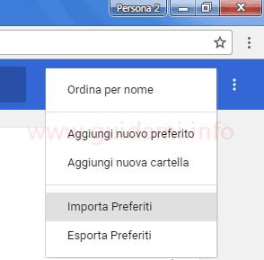 Menu contestuale Chrome opzione Importa Preferiti