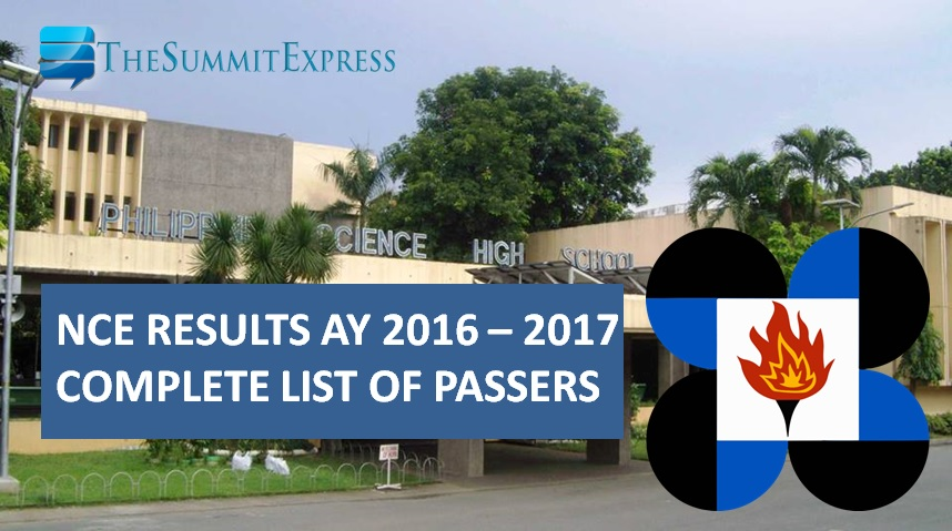 PSHS releases NCE results for AY 2016-2017