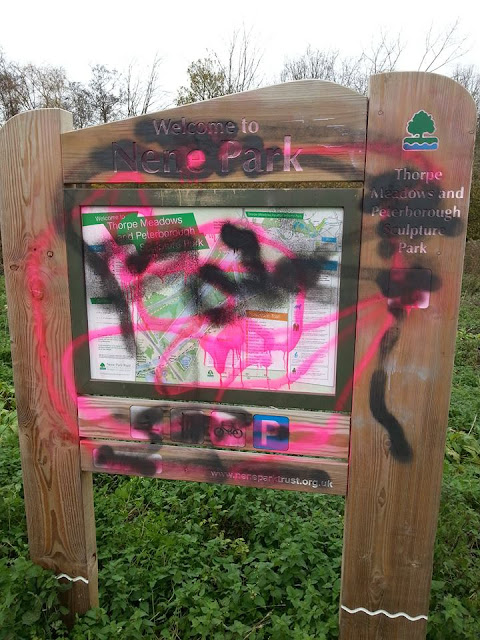 Vandalised Information Board at Thorpe Meadows