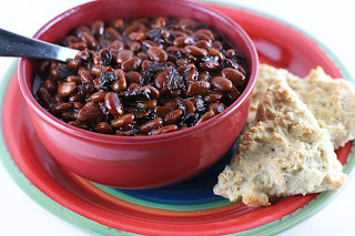 Slow Cooker Bourbon Baked Beans: dried beans, bacon, brown sugar, bourbon, onion, and molasses.