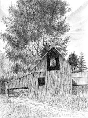 art drawing charcoal rural barn Midway Utah