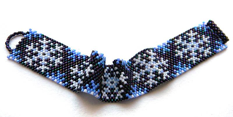 snowflake peyote bracelet winter beaded jewelry beadwork