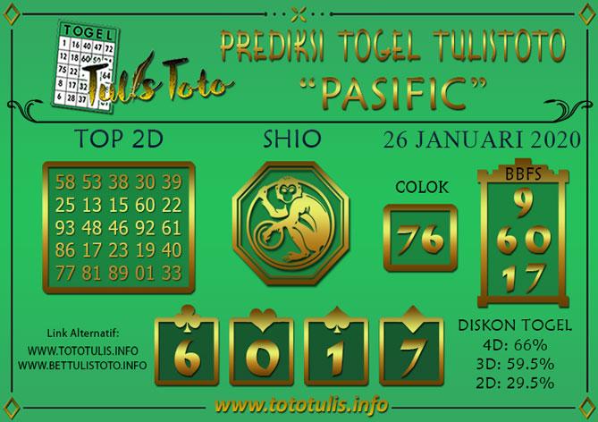 Prediksi Togel PASIFIC TULISTOTO 26 JANUARI 2020