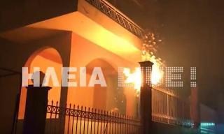 Φωτιά στην Ηλεία: Οι φλόγες «γλείφουν» σπίτια στην Σκιλλουντία - Συγκλονίζει το βίντεο