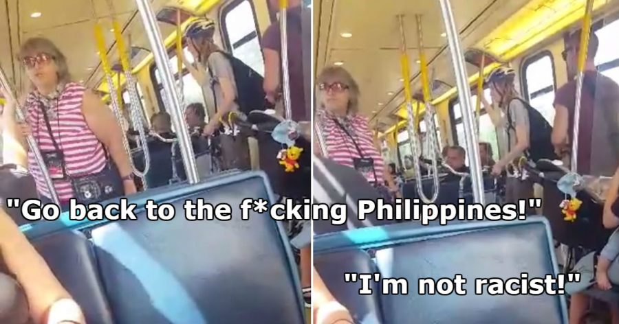 Racist Canadian woman in action, other Canadian passengers defended the Filipino couple