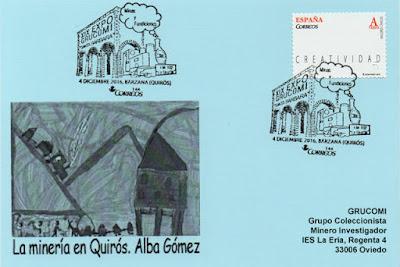 Tarjeta de Grucomi con el matasellos de la exposición Santa Bárbara en Bárzana de Quirós