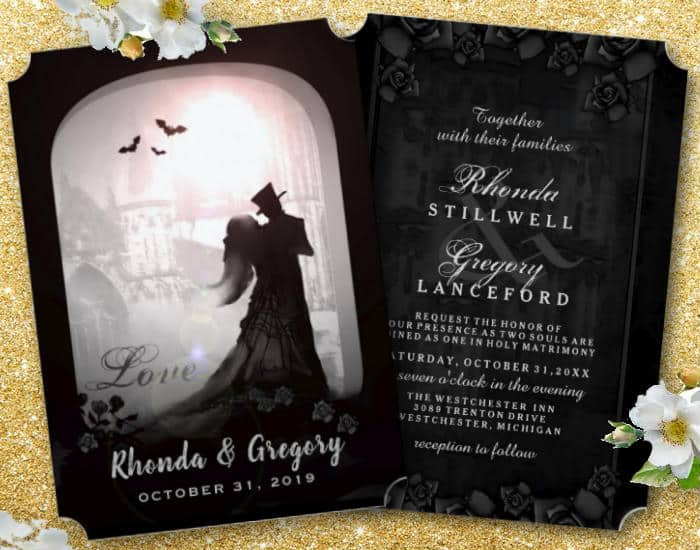 Gothic Romance Love Elegant Wedding Invitations by Julie Alvarez Designs
