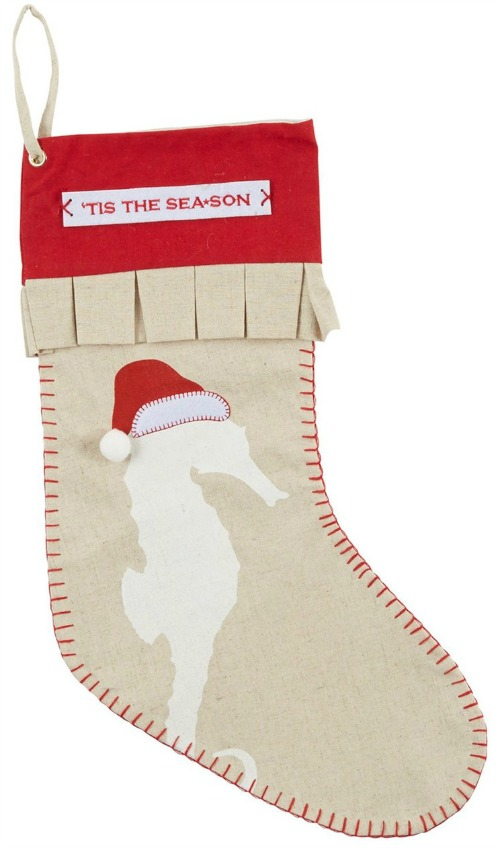 Tis The Sea-son Santa Seahorse Stocking