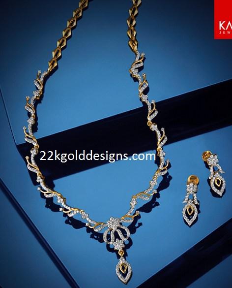 Kalyan Simple Diamond Necklace Set 22kgolddesigns