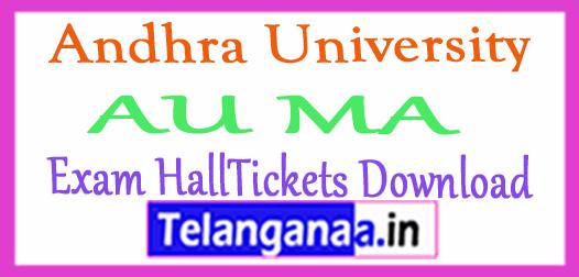 Andhra University AU MA Exam HallTickets Download