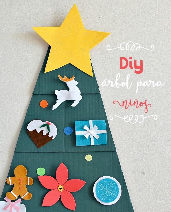Diy arbol de navidad para niños hecho con cartón y fieltro