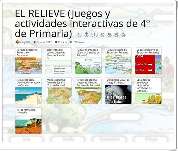 """""""13 Juegos y actividades interactivas para el estudio de EL RELIEVE en 4º de Primaria"""""""