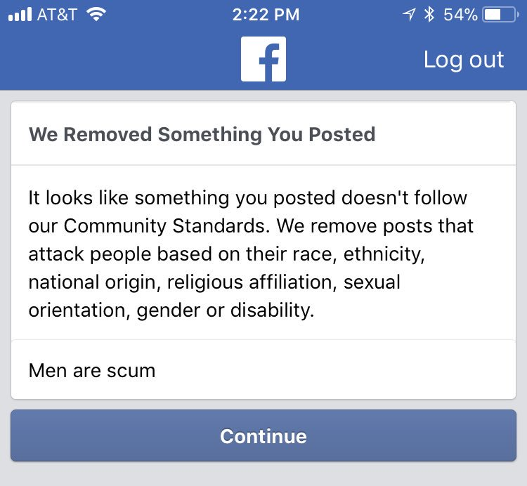 """Facebook Policy: Users Are Banned for Posting """"Men Are Scum""""!"""