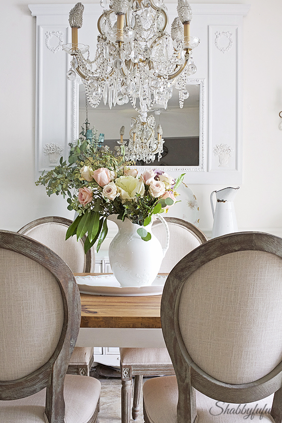 French dining chairs used in an elegant farmhouse setting, all done on a budget