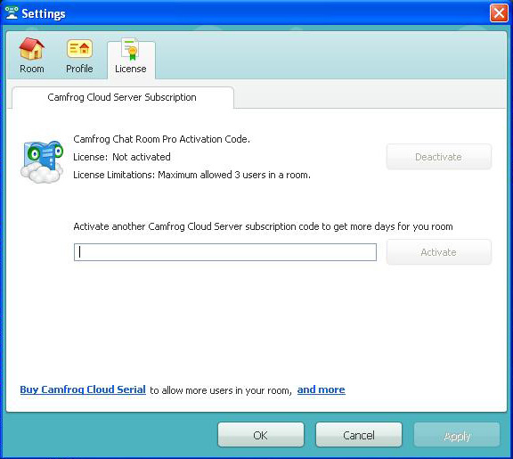 Camfrog Cloud Setting License