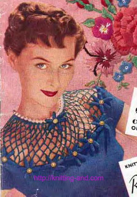 The Vintage Pattern Files: Free 1950's Knitting Pattern - Romantic Jumper