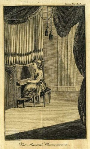 William Crotch playing the organ, 1779 (Wikipedia Commons) Print from The London Magazine, April 1779