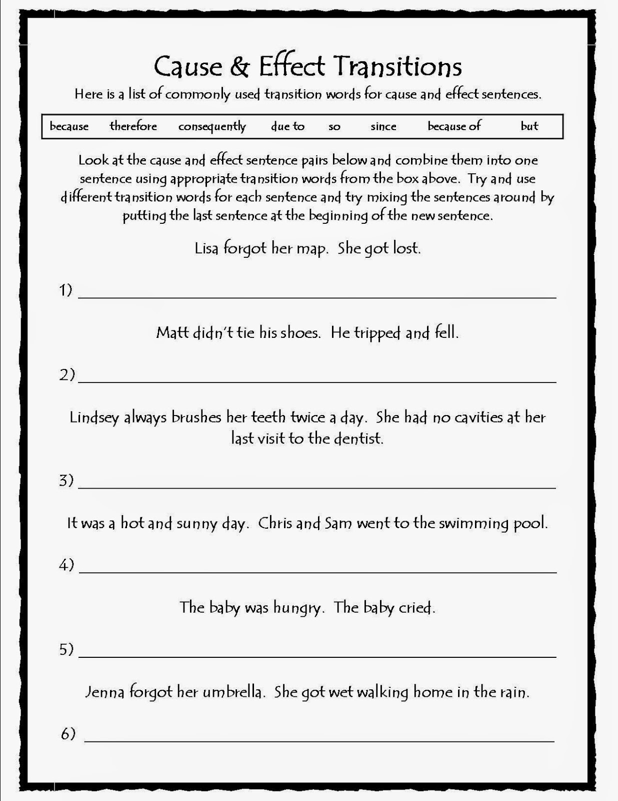 Worksheet Cause And Effect Worksheets 3rd Grade