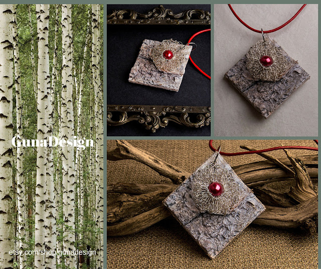gunadesign guna andersone Eco jewwlry-a pendant made from Birch bark