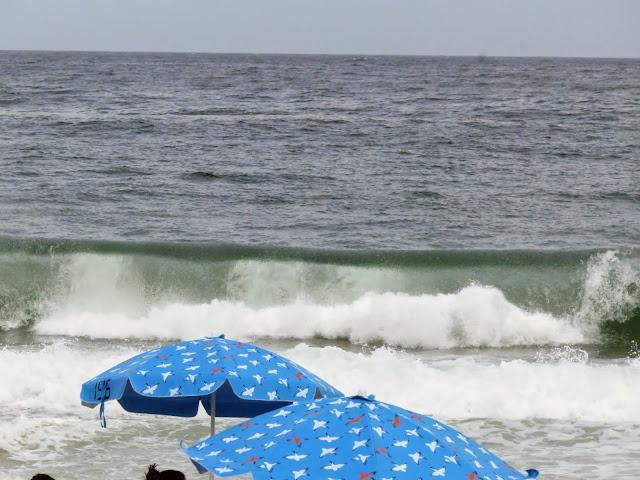 Crashing wave on Copacabana Beach in Rio de Janeiro Brazil