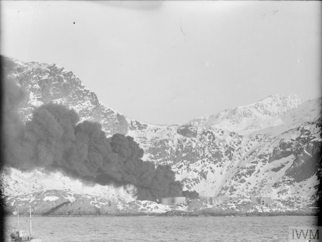 4 March 1941 worldwartwo.filminspector.com Lofoten Islands Operation Claymore burning fish oil factory