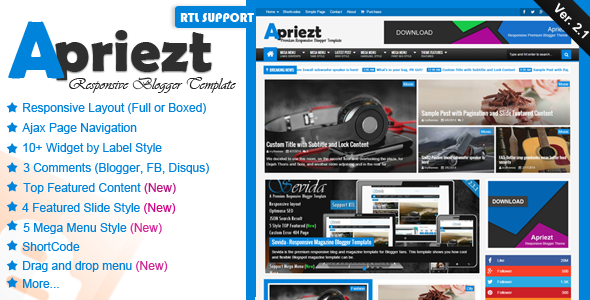 Free Download Apriezt V2.1 Responsive Magazine/News Blogger Theme