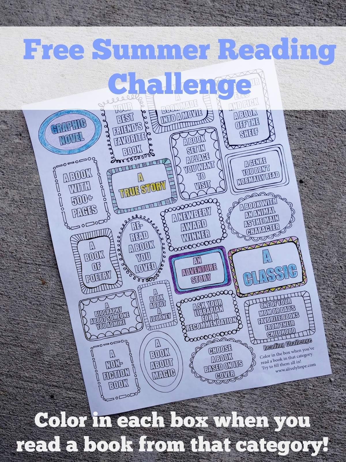 A Lively Hope Summer Reading Challenge Printable Our