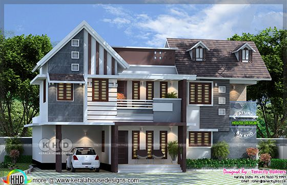 Colonial touch home design with floor plan