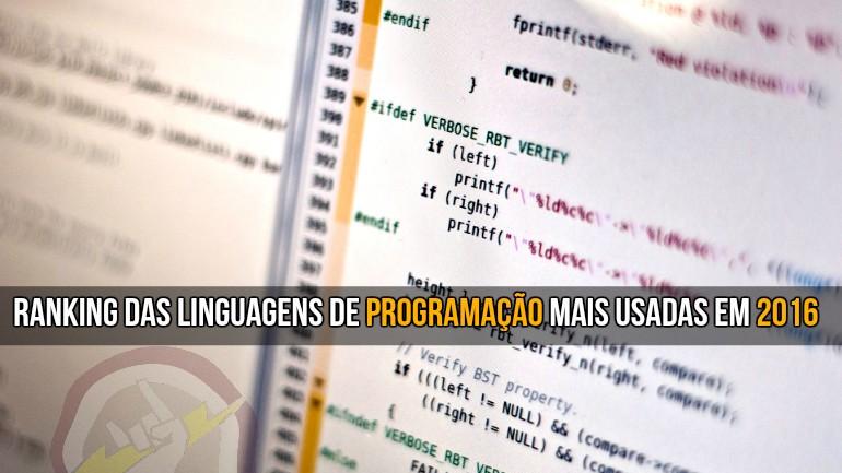 Ranking das linguagens de programação mais usadas em 2016