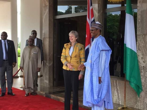 UK prime minister, Theresa May arrives Nigeria, meets Nigeria Buhari in Aso Rock (photos/video)