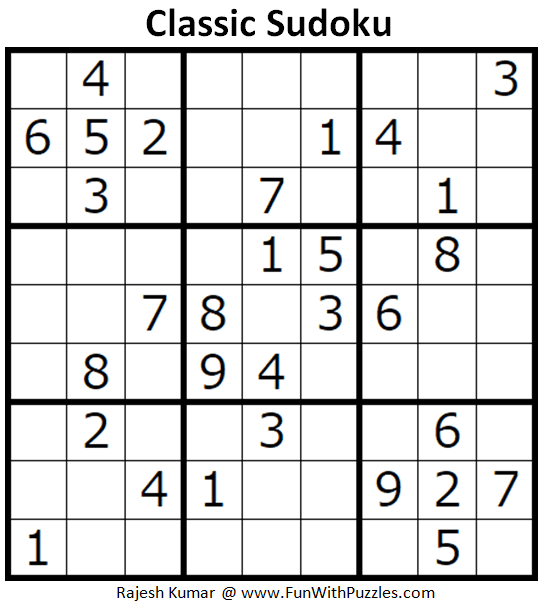 Classic Sudoku Puzzles (Fun With Sudoku #298)