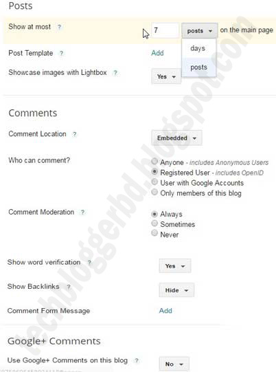 Blogger posts and comments settings