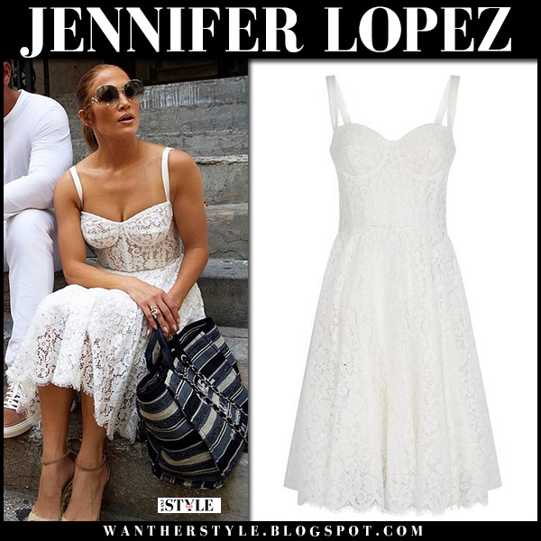 Jennifer Lopez in white lace corset dress dolce gabbana and wedges summer celebrity style august 7