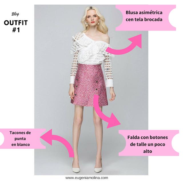 blusa asimetrica en tela brocada color blanco combinada con falda rosa