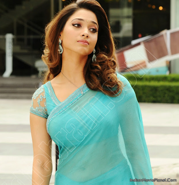 Tamanna In Saree In Rebel: OnLy AcTrEsS: Tamanna Front And Side View Hot In Blue
