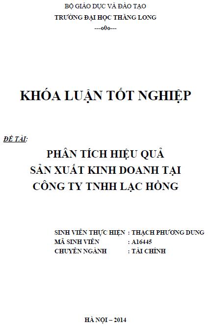 Phân tích hiệu quả sản xuất kinh doanh tại Công ty TNHH Lạc Hồng