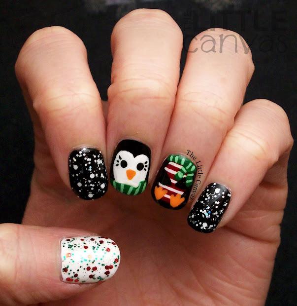 penguin nail art - little