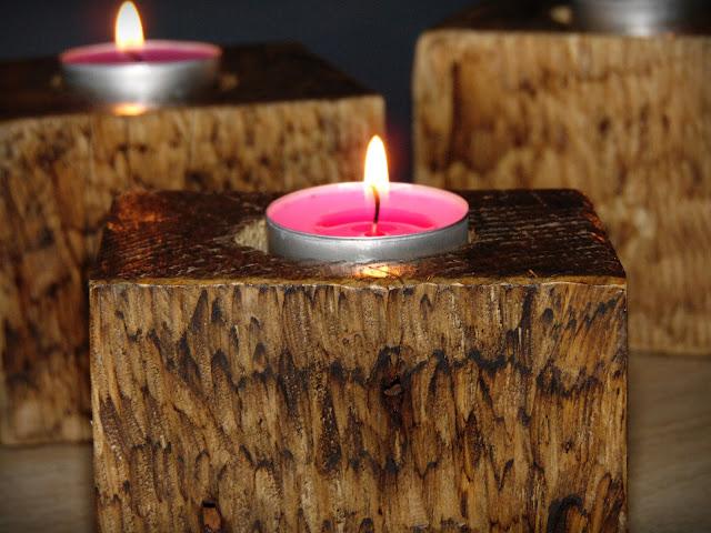jak zrobić świecznik drewniany