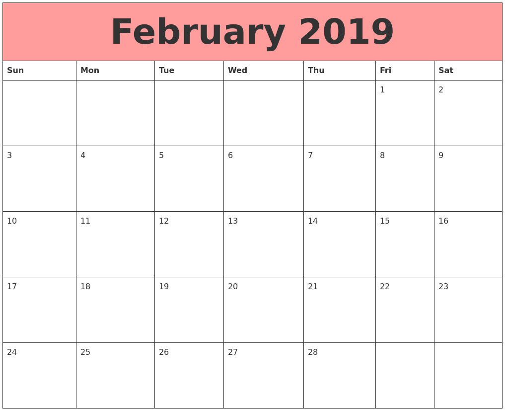 February 2019 Calendar A4 Printable