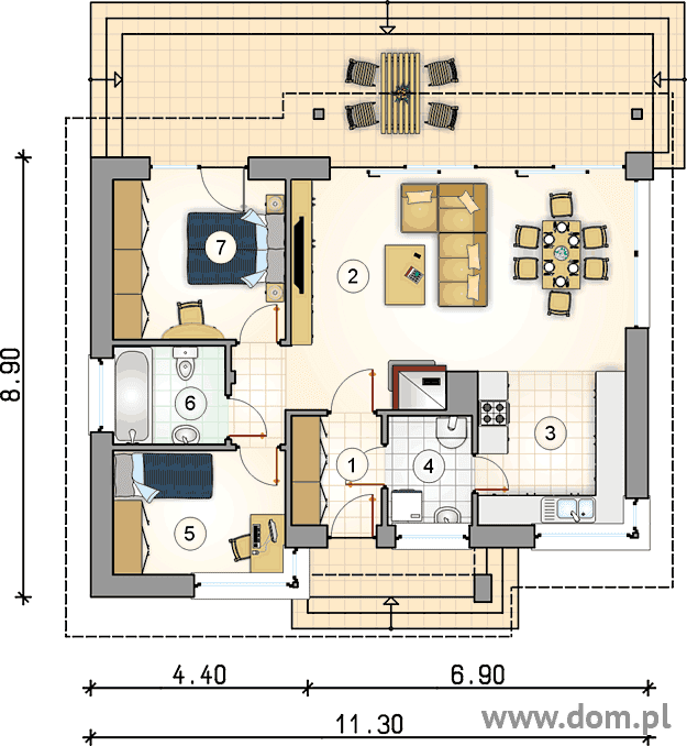 When it comes to home floor plans and designs, you must have more than one idea. A home may be filled with everything and you can use any material to build or to construct. For small families, a small bungalow house is almost ideal. Here are some of the house floor plan and layout designs we gathered for you for free. Advertisements      Single Story House Plan With A Usable Area Of 78 Square Meters         Specifications: Usable area 78 m2 Net cubature 506.20 m3 Height of the building 5.63m Building area 122,40 m2 Min. Parcel dimensions 19,60 × 20,65m Angle of inclination of the roof 25o  1st vestibule 4,15 m2 2.living room with dining area 32,50 m2 3.kitchen 12,35 m2 4.boiler room 4,40 m2 5th room 8.80 m2 6.bathroom 4,45 m2 7 peace 11,35 m2  Source: wybieramprojekt.pl Sponsored Links  Single Story House Plan With A Usable Area Of 72.90 Square Meters             Specifications: Pow. usable (m 2 ): 72.90 Pow. net (m 2 ): 82.80 Pow. residential (m 2 ): 72,90 Pow. Total (m 2 ): 103,80 Pow. development (m 2 ): 104.00 Cubature (m 3 ): 439.55 Inclination angle of the roof ( 0 ): 25.00 Building height (m): 5.63 Min. Parcel width (m): 19,30 Min. Parcel length (m): 17.88  1.living room : 4.05m2 2.living room with dining room: 31.00 m2 3.kitchen: 9.35 m2 4.boiler room: 3.80 m2 5.room: 8.80 m2 6.bathroom: 4.55 m2 7.room: 11.35 m2 Together: 72.9 m2  Source: dom.pl   Advertisement Single Story House Plan With A Usable Area Of 50 Square Meters             Specification: Bedroom: 2 Kitchen: 1 Bathroom: 1 Living room  Source:  pro-arte  RELATED POSTS: