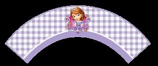 Wrappers para cupcakes de Princesa Sofía en Fondo a Cuadros.