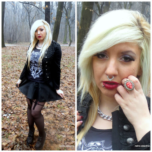 goth girl blonde septum ring nugoth cross tights leather skater skirt